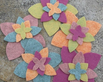 20 Wool Blend Felt Die Cut Applique Flowers - Fall Harvest