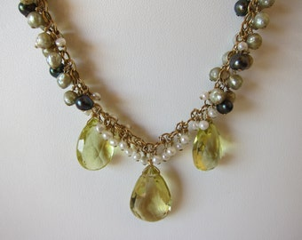 Lemon Quartz and Pearl Cluster Handmade Necklace with 14K Gold Filled Chain