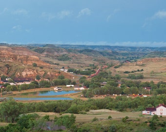 The city of Medora North Dakota taken from a bluff in the Badlands