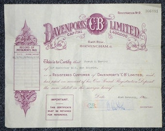 Share Certificate Davenports brewery, Birmingham UK dated 21st February 1950