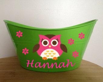 Personalized Girl Owl Storage Tub