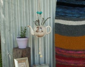 Macrame Plant Hanging: Teal /  Lemon  & Natural Rope - Perfect for indoor and outdoor use or makes a wonderful gift!