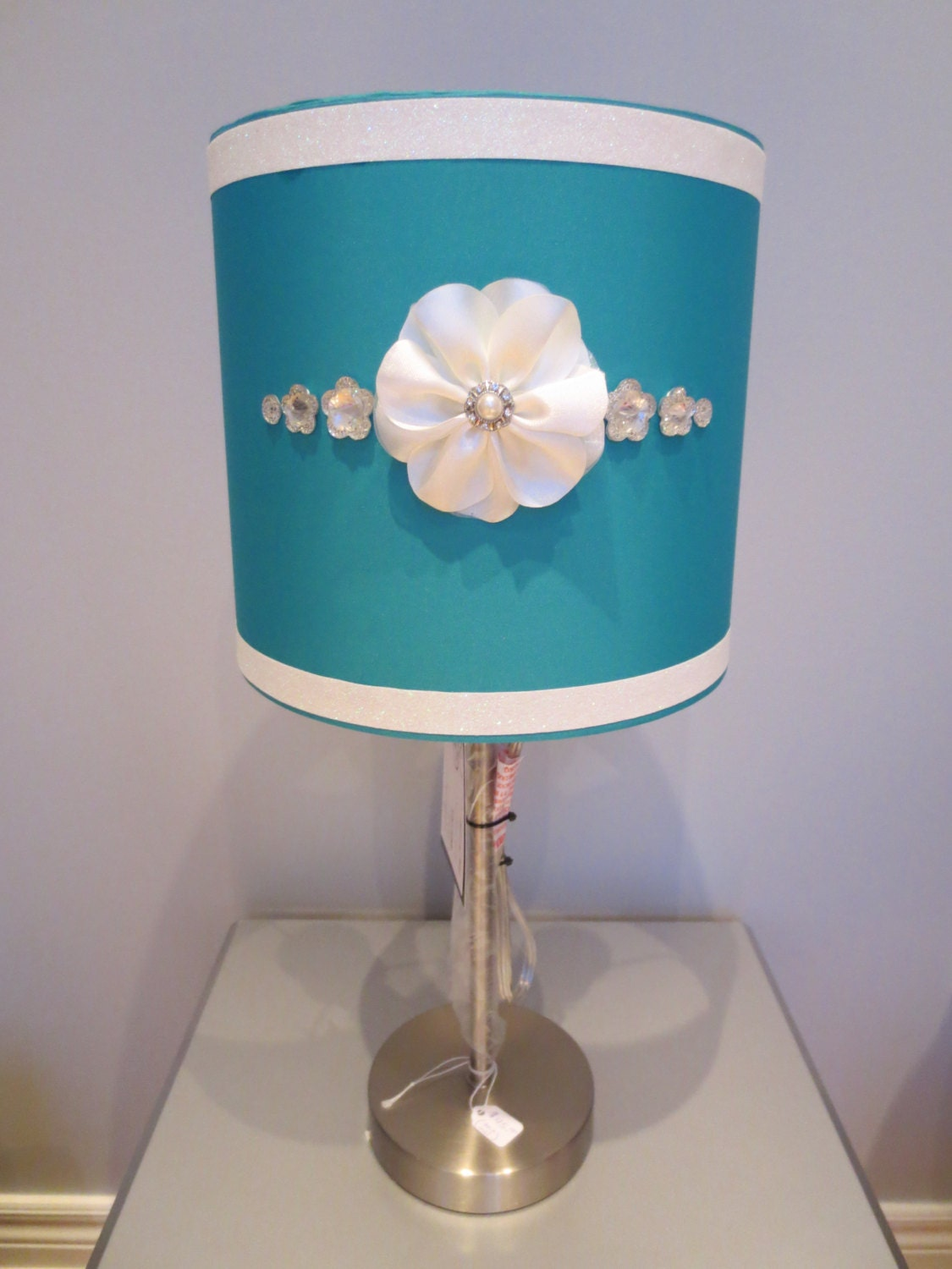 Girly Glam Lamp With Teal Lamp Shade White Floral