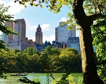 A Day at the Lake in Central Park, New York City, Manhattan - Color Photo Poster Wall Art Picture - 8x10 or 16x20
