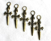 Skull Head Sword Charms Bronze, 5 charms 28x63mm - C16