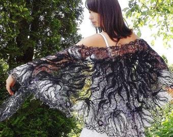 Black & White handmade shawl   crazy wool openwork shawl for women artistic shawl wedding unique shawls Gift woman