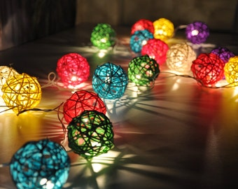 20 Mixed Colour Rattan Ball String Lights for Party Wedding and Decorations