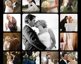 Personal Photo Collage Wedding - Mother's Day - Senior photos, Family photos, personal photos portrait Printed on Wood Panel - Made in USA