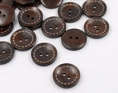 12 pcs Wooden Buttons, Flat, 25mm, 2 Hole
