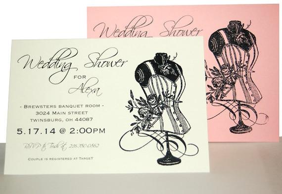 Custom Hand-Stamped Vintage Bridal Shower Invitation