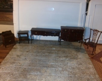 High Quality Dollhouse Furniture damaged set lot rare vintage & modern Bespaq pieces chair buffet end table night stand mahogany 1/12 scale