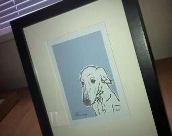 6x4 Inch Hand Drawn, Framed and Mounted Unique Illustration. Personal to you!