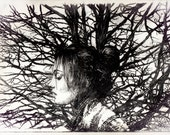 """Hand made drypoint etching portrait printed on Snowdon paper. Intaglio A4 """"Woman in Winter""""."""