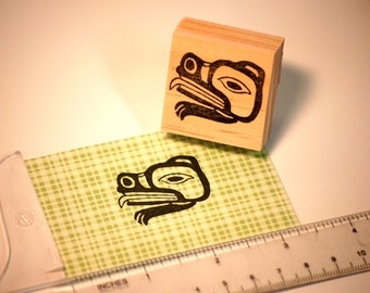 Hand carved rubber stamp - Tlingit bear design.