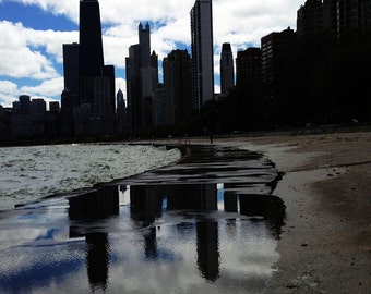 Chicago Skyline Reflection Print - Chicago Archiecture Wall Decor - Chicago Photography - Puddle reflection Print - Original Art Photography