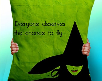 Wizard of OZ Wicked Witch Musical typographic pillow - Cushion / Pillow Cover / Panel / Fabric