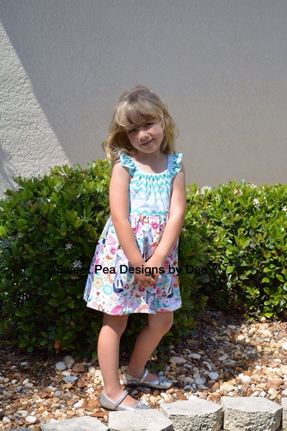 Fox print turquoise chevon summer  Birthday Party dress.