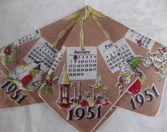 Vintage 1951 Calendar Hankie...1951 Birthday Hankie...Seasonal Graphics