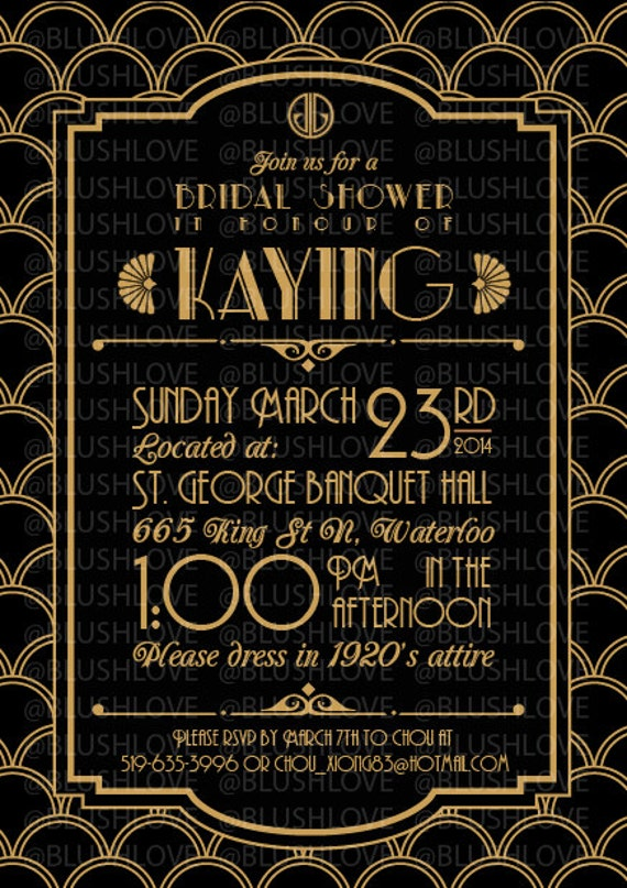 Items similar to Great Gatsby Bridal Shower Invitation ...