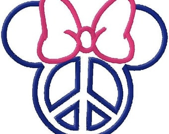 Peace Mouse Head with Bow Applique Embroidery Design