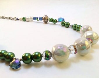 SALE-Funky, eclectic green pearl and blue crystal necklace with iridescent white bobbles