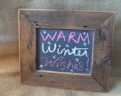 Rustic barn wood real slate chalkboard