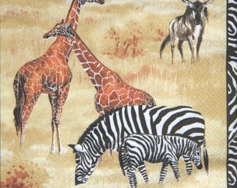 """5x African paper napkin serviettes No 23. Wild Animals.Ideal for decoupage, collage, scrapbooking, mixed media. Size: 13"""" x 13""""(33cm x 33cm)"""