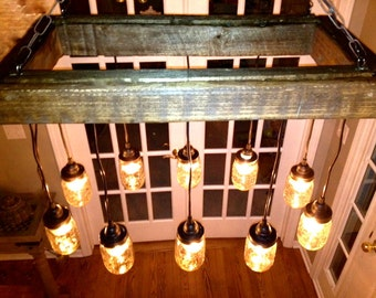 Mason Jar Chandelier - Mason Jar Lighting - Mason Jar Fixture- Edison Bulb Chandelier-Reclaimed Wood- Upcycled Wood