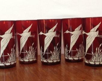 Vintage Red Pheasant Glasses