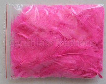 """10g (0.35Oz) hot pink 3~4"""" turkey plumage feathers 80~120 counts, for crafting, sewing, etc, SKU: 7G22"""