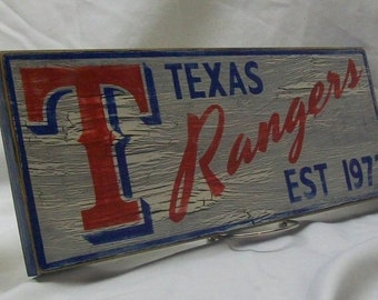 "Texas Rangers wall sign, 6 1/2"" x 17"", distressed"