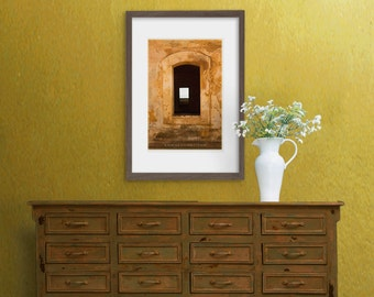Zen art photography: window in golden yellow old wall, rustic textures, warm colours, simple shapes, architectural. Shabby chic decor.