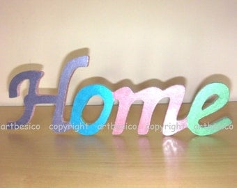 Home wood sign, plywood word cutout, wood letters, wood decor
