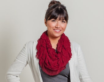 Red Infinity Ruffle Scarf