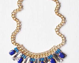 Anything For Blue, Cobalt Blue Crystal Statement Necklace