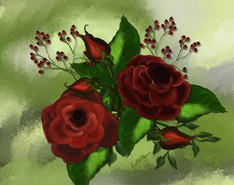 "Floral painting print, Original digital painting by Nancy Long ""Red Roses"" green background. Nancylongdesigns"