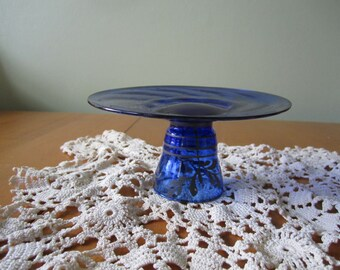 Vintage Cobalt Blue hand blown glass dessert plate