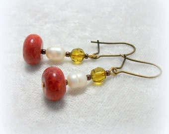 Gypsy Boho Dangle Earrings  - Coral and Pearl by Cindy Caraway