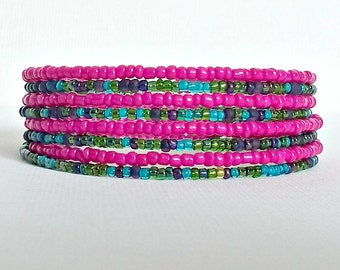 Memory wire bracelet. Hot pink and multi colored seed beads