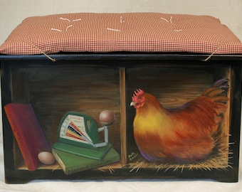 SOLD...Painted Furniture.  Black, vintage toy chest or bench, fun chicken theme. Furniture as art.