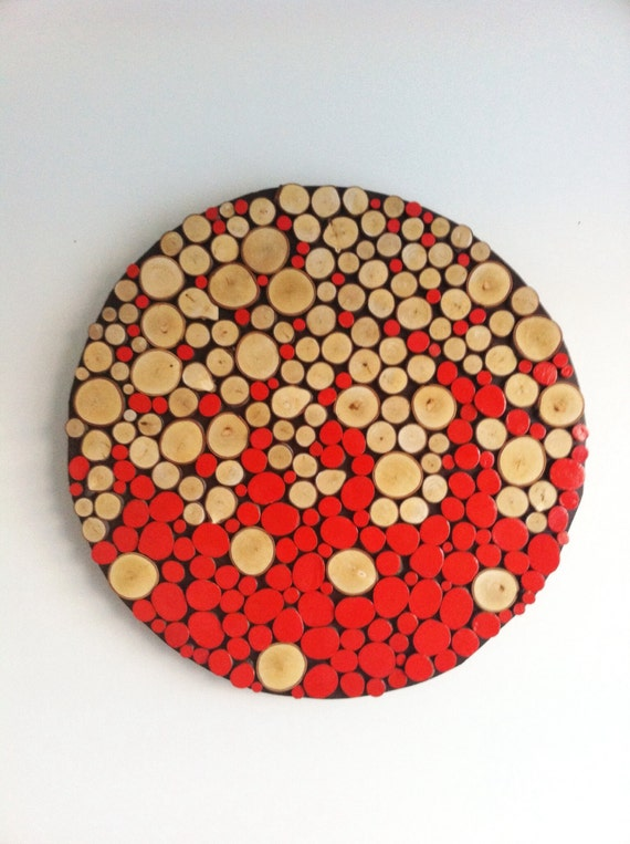 Wood Circle Wall Decor : Sliced wood wall abstract art home decor rustic modern