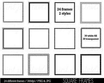 Square Frames Clipart Clip Art, Square Borders Clipart Clip Art,Scalloped Edge Square Frames - Personal & Commercial - BUY 2 GET 1 FREE!