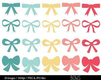 Digital Bow Clipart, Clip Art Bows, Ribbon, Pink Bow, Gift Bow, Digital Ribbons, Colorful bows - Commercial & Personal - BUY 2 GET 1 FREE!
