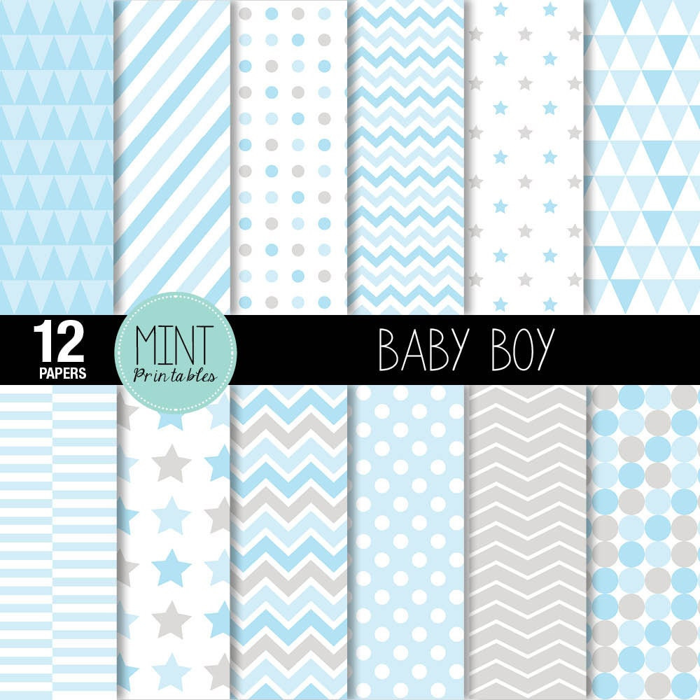 Baby Boy Digital Paper Scrapbooking Papers Patterned