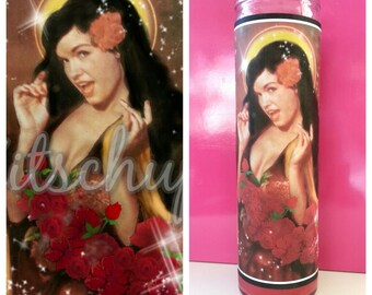Bettie Page prayer candle