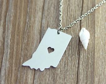 I heart Indiana Necklace - Indiana Map Pendant - State Necklace - State Charm - Map necklace - Map Jewelry