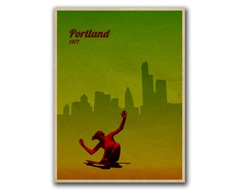 Skateboarding Art Retro Poster Travel Decor Print (H68)