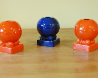 Vintage Fiesta pottery bulb candle holders
