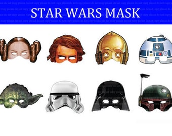 INSTANT DL- Star Wars mask Birthday Party -Printable