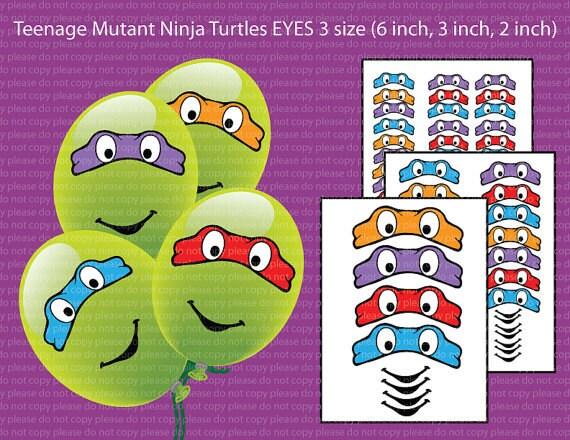 INSTANTÁNEA DL-Teenage Mutant Ninja Tortugas ojos 3 tamaño